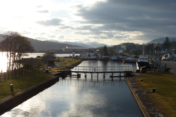 View of lochs and lighthouse at Corpach