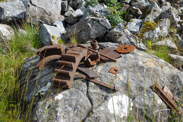 Old cogs and wheels at the Corrantee lead mines
