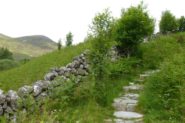Climbing the stone steps to the viewpoint on the Alt Dubh Trail