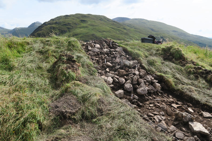 Remains of the vitrified fort at Dun Deardail - exposed during the 2015 excavations