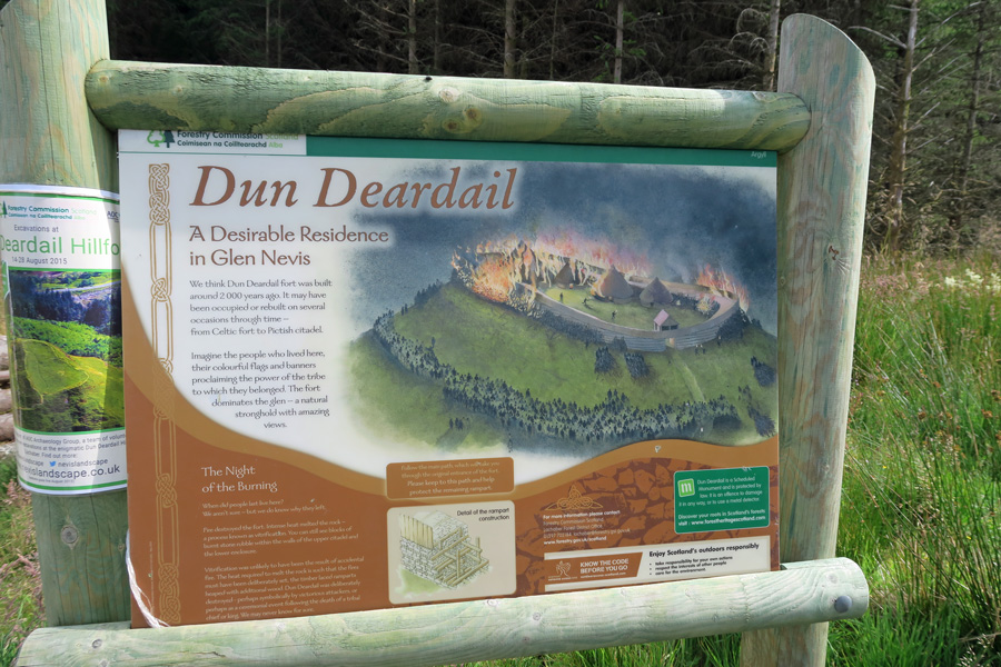 The Interpretation Board at the start of the path to Dun Deardail