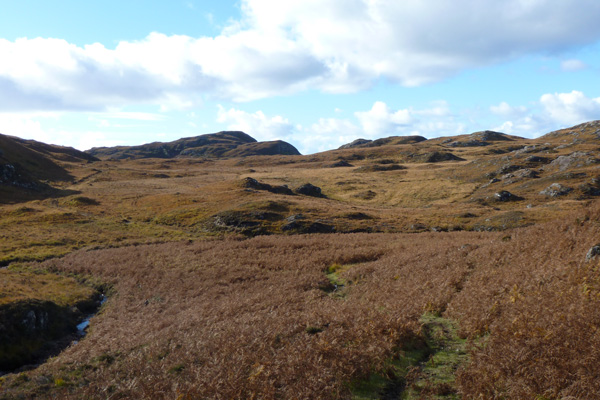 Looking down to where the path meets up with the Glendrian and Port Eigin-aig paths
