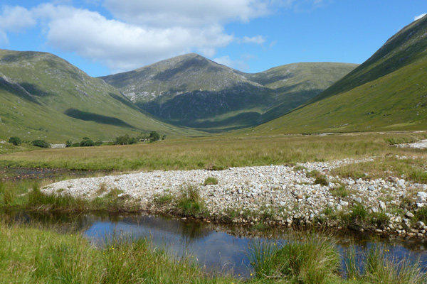 Looking over the Glengalmadale River to Creach Bheinn