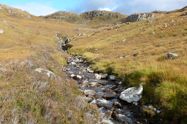 Glenbeasdale Burn strewn with Boulders