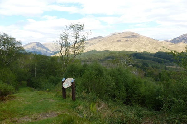 An interpretation board with good views of  Glen Ure