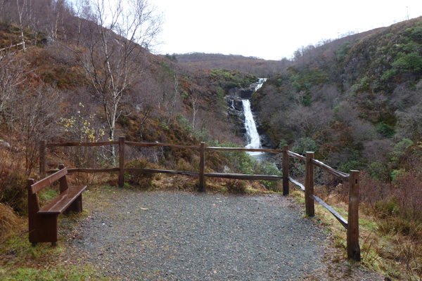 Viewpoint over Inchree waterfalls