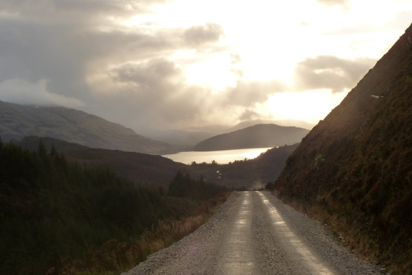The forest road with good views of hills of Ardgour and Loch Linnhe