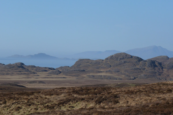 Looking north over the rim of the caldera to Muck and Skye