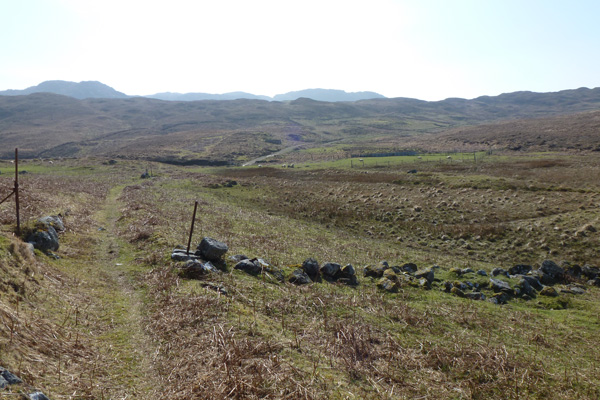 Looking back to the stream before Glendrian village