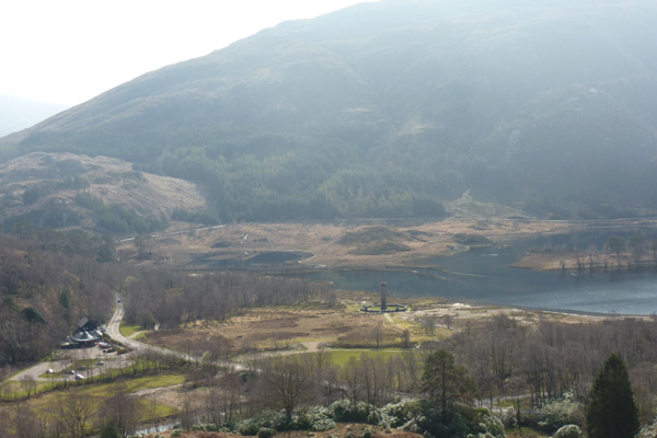 The Glenfinnan monument and National Trust for Scotland visitor centre