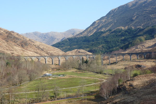 A view of the Glenfinnan Viaduct from The National Trust viewpoint