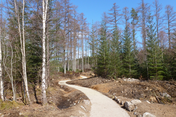 The gravel path returning to the car park on Ciste Dubh Trail