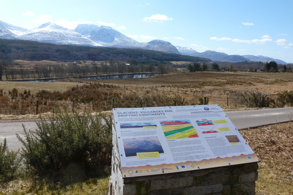 Lochaber Geopark board on Glaciers, Volcanoes and Drifting Continents