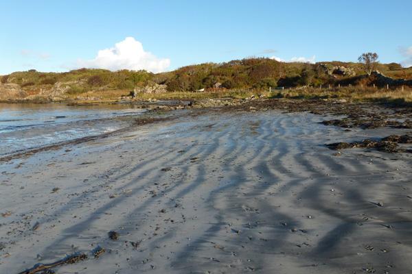 Shadows in the sand on Kilmory beach