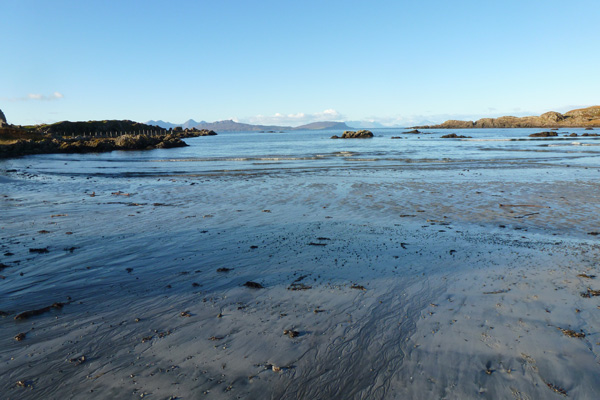 Kilmory beach affording good views of the Small Isles