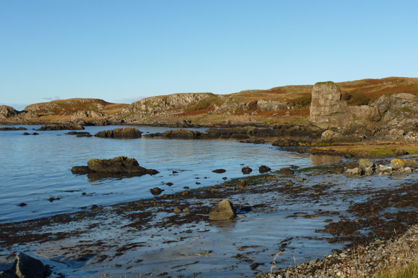 The rocky outcrops and islets of Kilmory beach