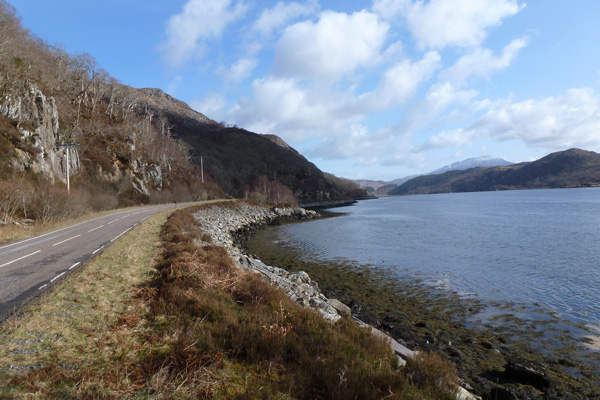 The A861 by Loch Moidart, a good place to look out for otters