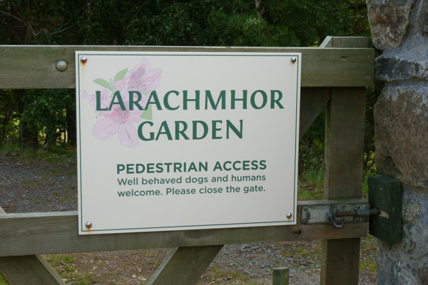 The entrance to Larachmhor Gardens