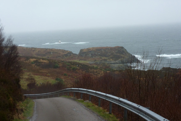 The road back down to Mallaig with fine views over The Small Isles and Harbour