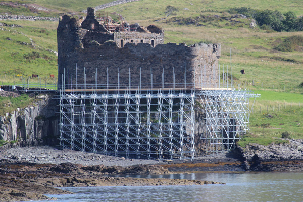 Mingary Castle during restoration in August 2013