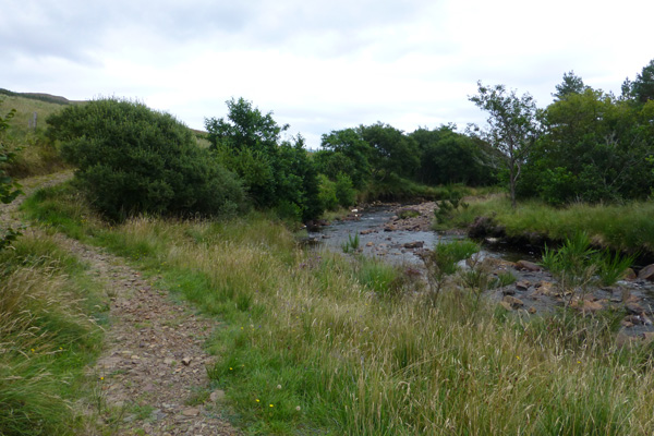 The path meets Kinloch Burn