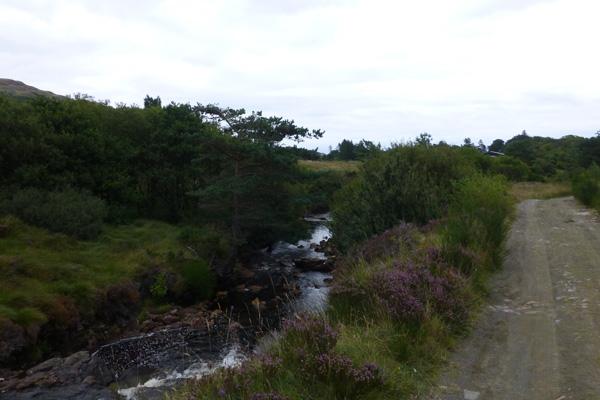 The gravel track skirting Kinloch Burn