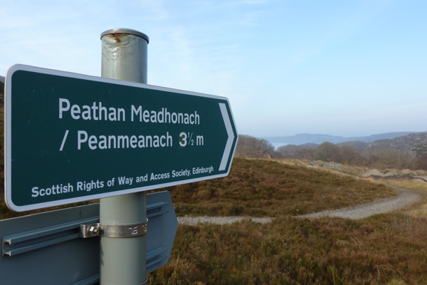 The start of the footpath to Peanmeanach