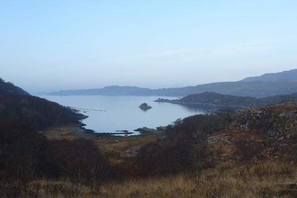 Loch nan Uamh and ruined township of Allt Camas Raoigh