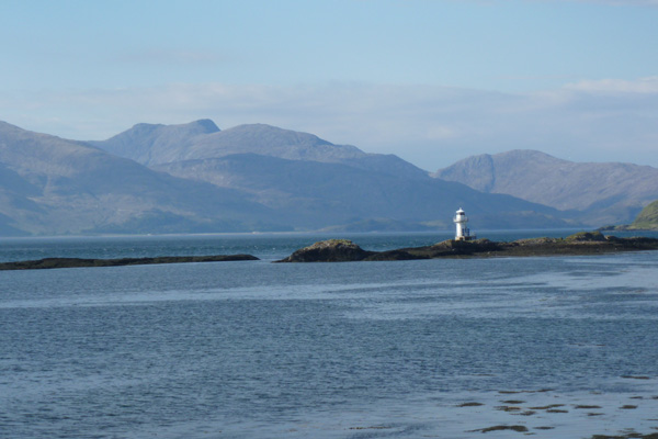 Stunning views of the new automated lighthouse with hills of Morvern behind