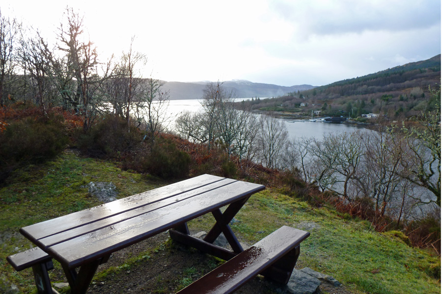The picnic bench with good views over Salen and Loch Sunart at the start of the Salen Oakwoods walk