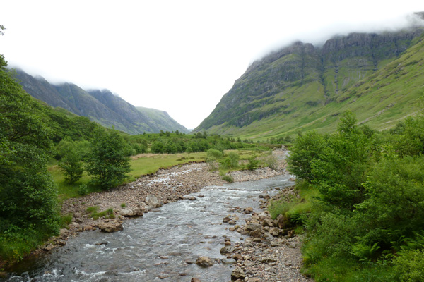 The River Coe cutting through Glen Coe