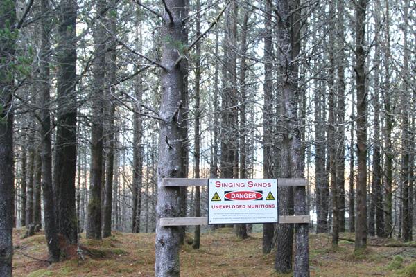 The Singing Sands - danger sign