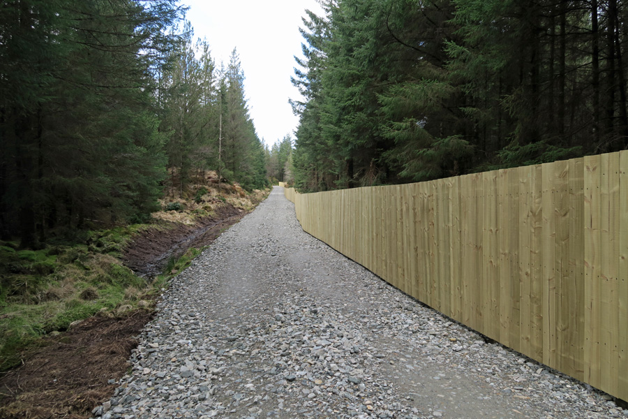 The new fenceline running along the first section of path in the plantation area
