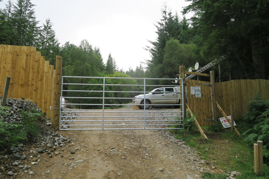 The new gateway to the plantation area - you can use the pedestrian gate if the metal gate is closed.