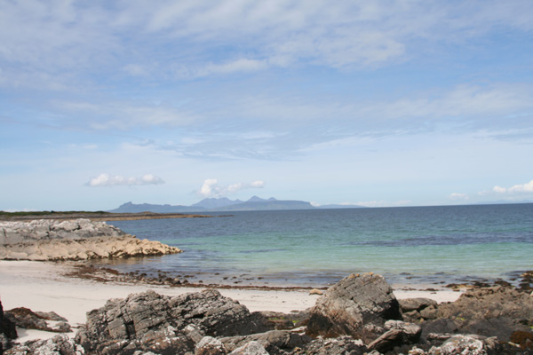 Smirisary, Moidart - the beach and view to the Small Isles