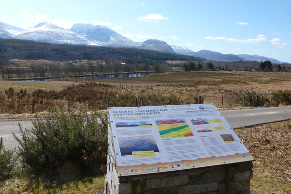 Lochaber Geopark Interpretation Board at Glen Loy Car Park