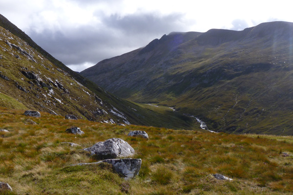 A mountain landscape seen from the Meall Beag Viewpoint Trail
