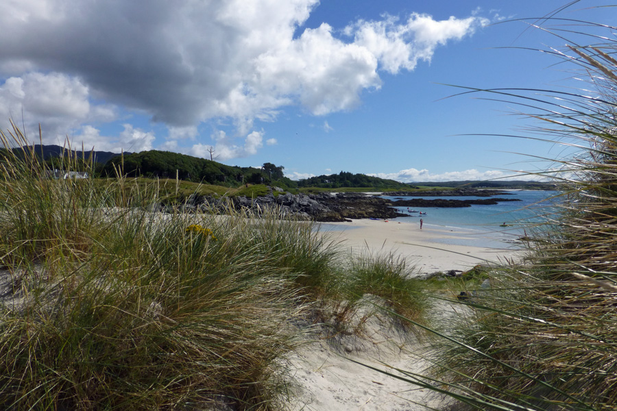 Through the dunes to the beach at Camusdarach