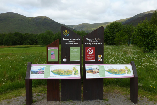 Information boards at Creag Meagaidh National Nature Reserve