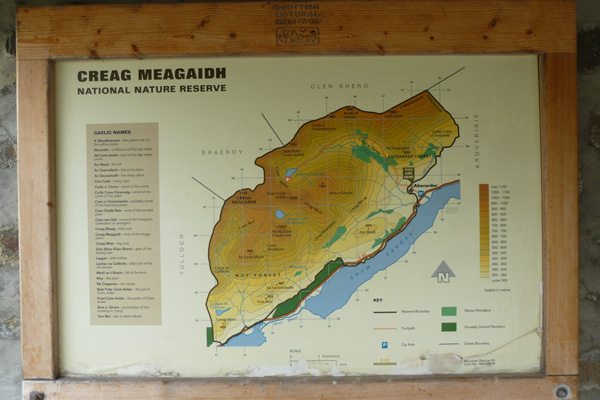 Map of Creag Meagaidh National Nature Reserve