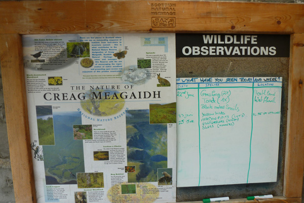 Sightings board for Creag Meagaidh National Nature Reserve