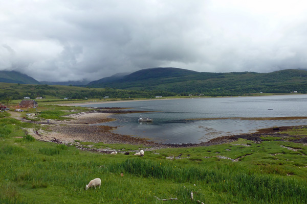 Looking back towards Cuil Bay from the walk to Rubha Mor