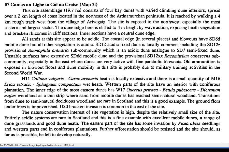 Summary from the 1998 SNH Sand Dune Vegetation Survey indicating the high conservation status of Cul na Croise, Ardnamurchan