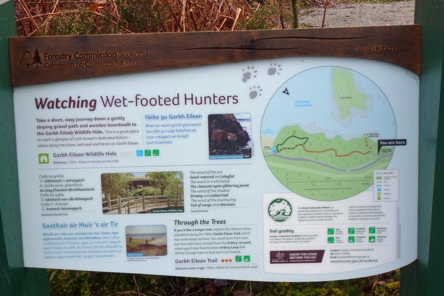The interpretation board at The Garbh Eilean Wildlife Hide