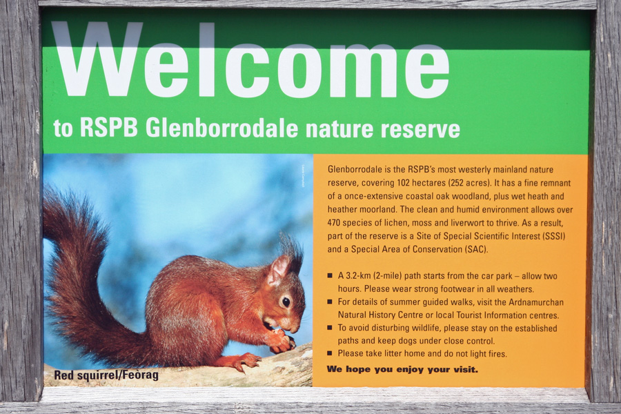 The RSPB Information Board at Glenborrodale