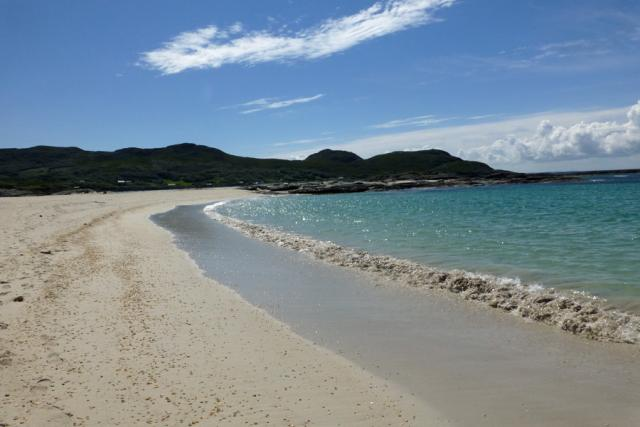 The blue seas and silver sands of Sanna Bay