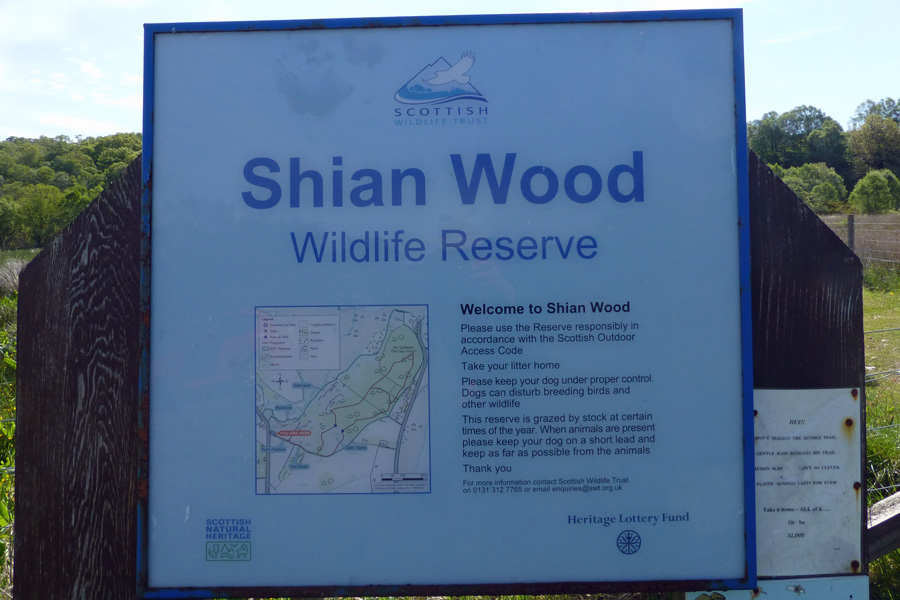The interpretation board at the entrance to Shian Wood