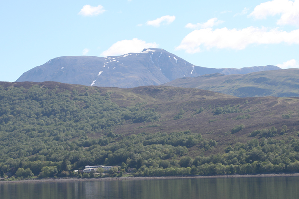 A view of Ben Nevis (or the grey elephant) from the salmon farm