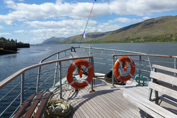 Good views from the bow of Souters Lass