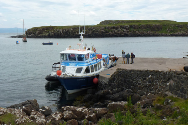 The MV Sheerwater docked at Eigg